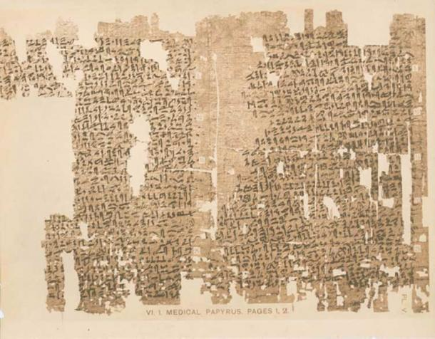 Page 1 and part of page 2 of the Kahun Gynecological Papyrus.