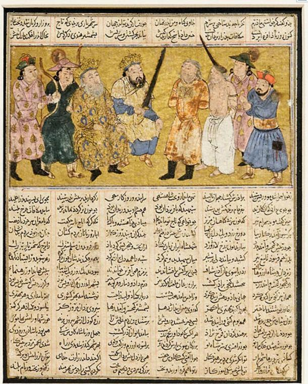 Kai Khorso enthroned holding the sword with which he would execute Afrasiyab for the murder of Siyavash.