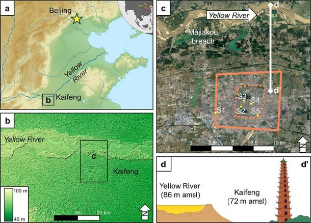 Kaifeng and the Yellow River. (a) Topography of the North China Plain. (b) Area around Kaifeng, showing the elevation of the Yellow River compared to Kaifeng. (c) City walls of Kaifeng (solid line - Song dynasty wall, dashed line - Ming/Qing dynasty) (d) The super elevated channel of the Yellow River hanging above Kaifeng, with the tallest building in medieval Kaifeng, the Iron Pagoda, for scale. (Storozum / Scientific Reports)