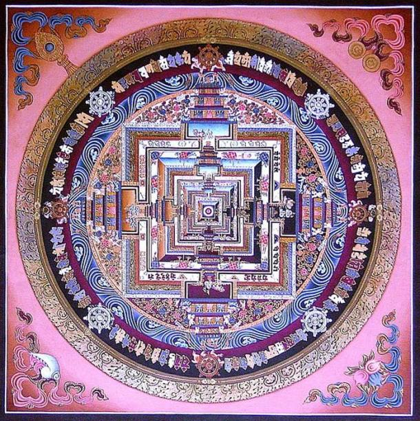 Kalachakra thangka painted in Sera Monastery, Tibet.
