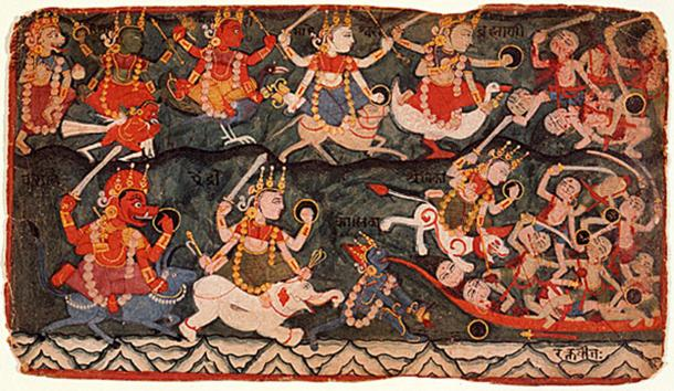 The goddess Ambika leading the eight Matrikas in battle against the demon Raktabija, folio from a Devi Mahatmya. (top row, from the left) the Matrikas: Narasimhi, Vaishnavi, Kumari, Maheshvari, Brahmi; (bottom row, from left) Varahi, Aindri, Chamunda or Kali (drinking the demon's blood).
