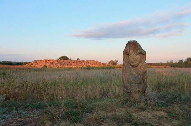 Kamyana Mohyla is an archaeological site in the Molochna River valley, about a mile from the village of Terpinnya, Zaporizhia Oblast, Ukraine.