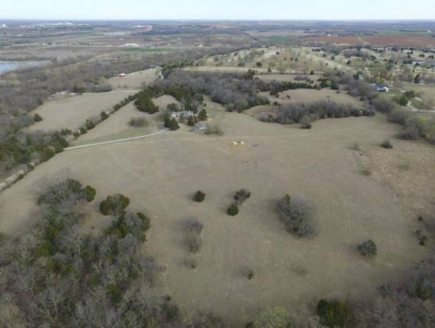 Aerial view of the recently discovered Kansas earthwork site