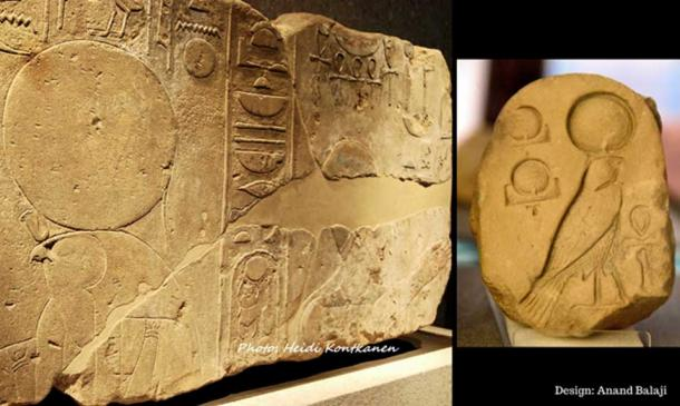 """A Karnak Temple relief from early in Akhenaten's reign shows him with Ra-Horakhty, traditionally depicted with a hawk's head. Neues Museum, Berlin. (Right) An inscribed limestone fragment from Amarna shows an early Aten cartouche, """"the Living Ra-Horakhty"""". Petrie Museum, London."""