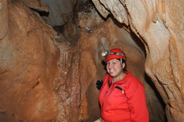 Kathleen Johnson collecting stalagmite samples from caves in Northern Laos to create a paleoclimate record for the study. (Amy Ellsworth / Eureka Alert)