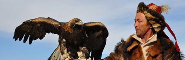 Kazakh-Mongolian Hunter and his Eagle.