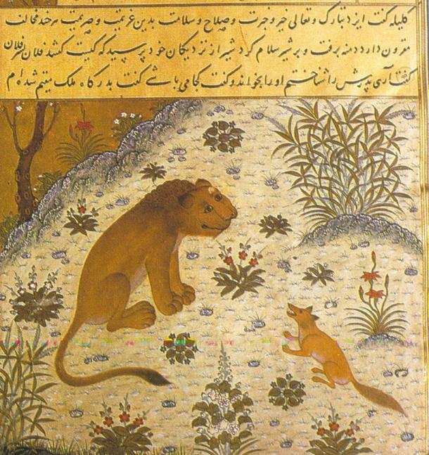 A page from Kelileh o Demneh dated 1429, from Herat, a Persian translation of the Panchatantra derived from the Arabic version – Kalila wa Dimna – depicts the manipulative jackal-vizier, Dimna, trying to lead his lion-king into war.