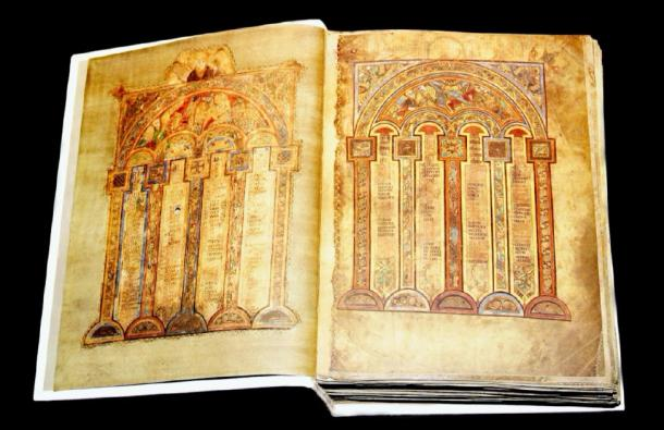 The Book of Kells is written in majuscule insular script, in yellow, red, purple, and black ink. (Warren Rosenberg / Adobe Stock)