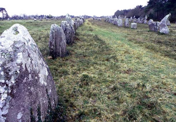 Part of the 'Kermario alignments' of Neolithic standing stones near Carnac, locally believed to have been Roman legionaries, turned to stone by St Cornèly (Photo: Anthony Adolph)