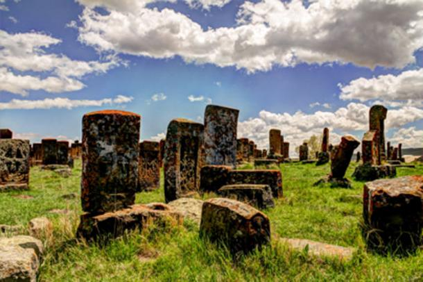 Khachkars in Noratus Cemetery, Armenia. (homocosmicos / Adobe Stock)