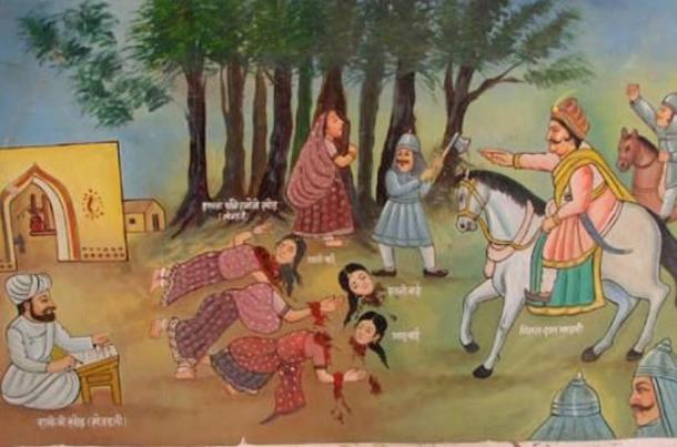 Illustration of the Khejarli Massacre (1730) in which 363 Bishnol men, women, and children were killed while trying to protect trees from being cut down.