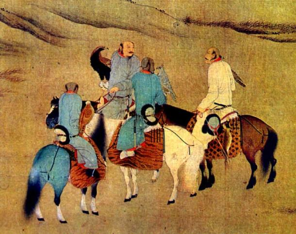 Khitan people using eagles to hunt. (Public Domain)