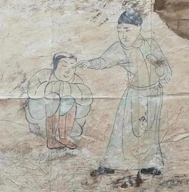 Another of the Khitan murals found in the tomb. (CFTV)