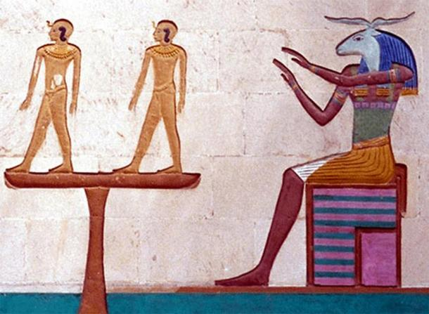 Khnum forming humans on his potter's wheel. (Canadian Museum of History)