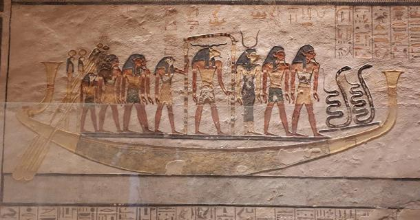 Khnum is the central figure on this sacred boat. (Alicia McDermott)