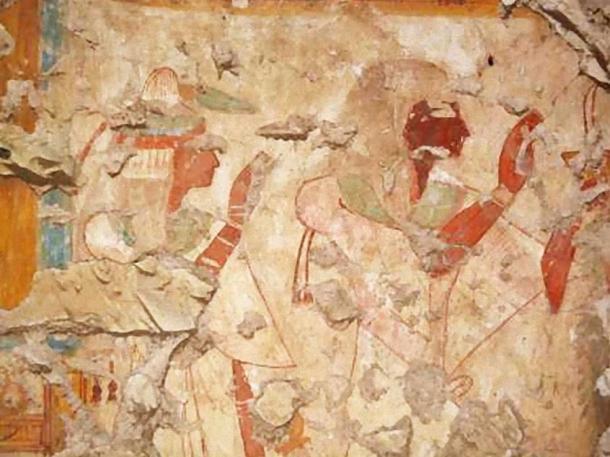 Khonsu and his wife worship the gods Osiris and Isis.