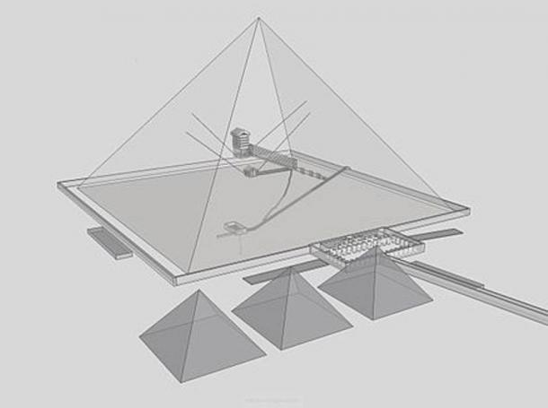 Khufu's pyramid at Giza shown with inner shafts illustrated.