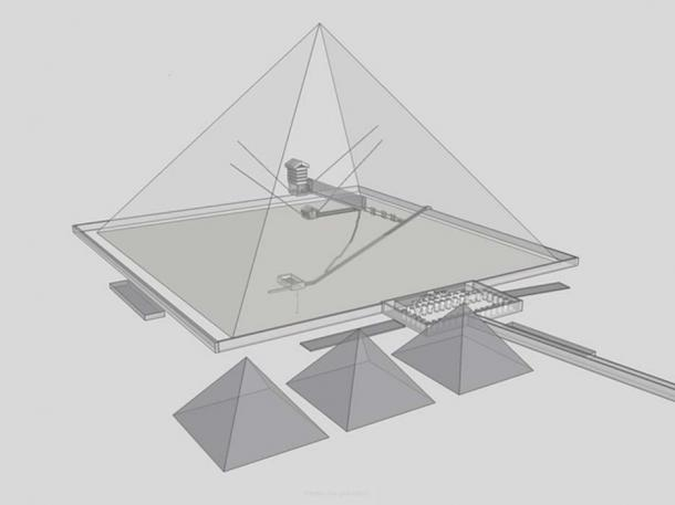 Transparent view of Khufu's pyramid from SouthEast.