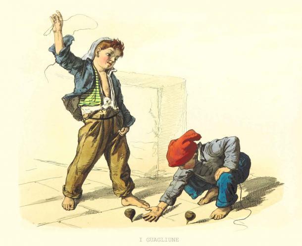 Des enfants d'autrefois jouant sur le trottoir avec des toupies comme ils le font aujourd'hui à divers endroits. (Mannaggia / Adobe Stock)