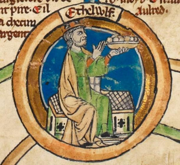 Alfred's father King Æthelwulf of Wessex in the early fourteenth-century.