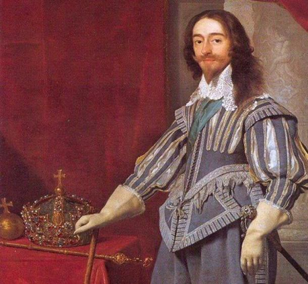King Charles I with the Crown Jewels (Public Domain)