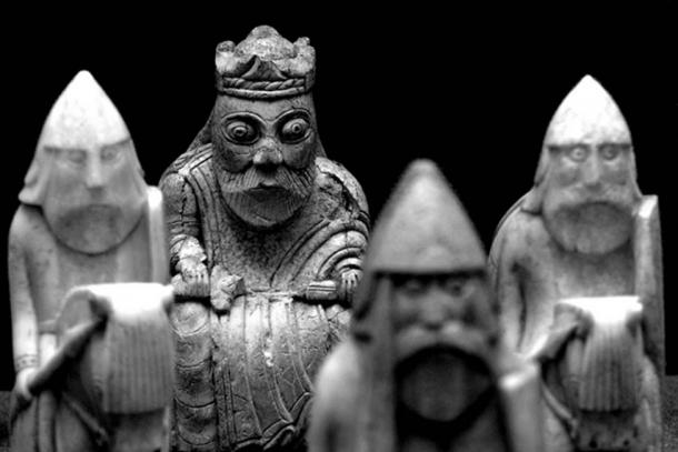 The King Defended. The Lewis Chessmen.