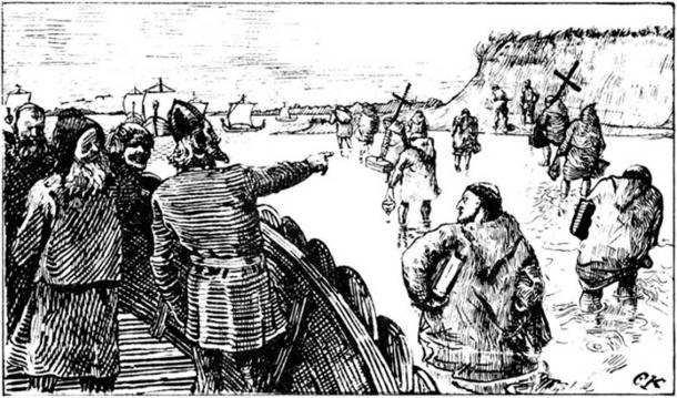 King Håkon illustrated in Olav Tryggvasons saga (1890s)