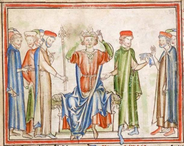 King Harold places the crown on his own head. (Public Domain)