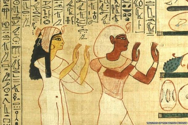 King Herihor, the erstwhile Theban High Priest, and Queen Nodjmet adore Osiris in the Afterlife. From the Book of the Dead papyrus of Nodjmet, c. 1050 BC. (Image courtesy of British Museum.)
