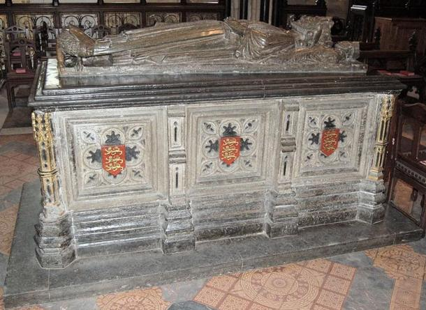King John's tomb. King John died in October 1216. Worcester Cathedral, England.