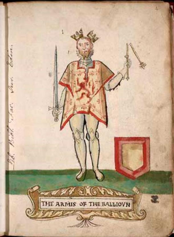 King John of Scotland - a puppet of Edward, his crown and scepter symbolically broken and with an empty coat of arms.
