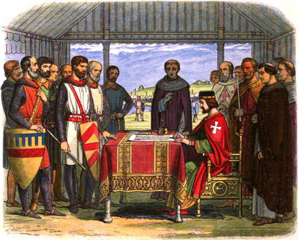 A romanticized 19th-century recreation of King John signing the Magna Carta.
