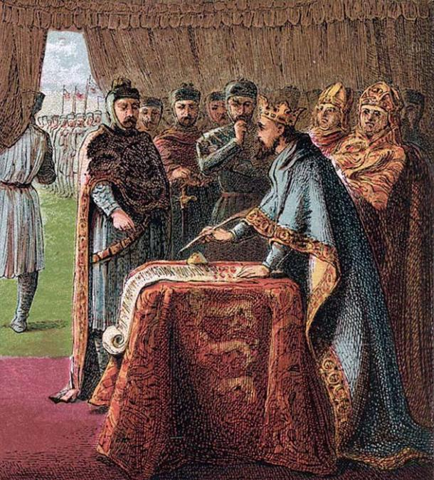 King John signs the Magna Carta. (Public Domain)