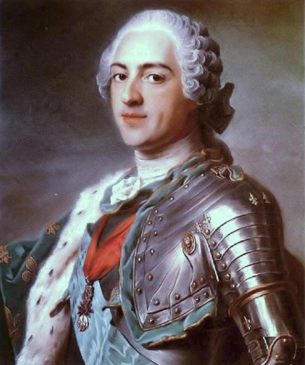 King Louis XV of France, trusted Saint Germaine completely. Painting by Maurice Quentin de La Tour (1748).