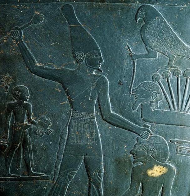 King Narmer detail on the Narmer palette from Nekhen (Hierakonpolis), 31st century BC.