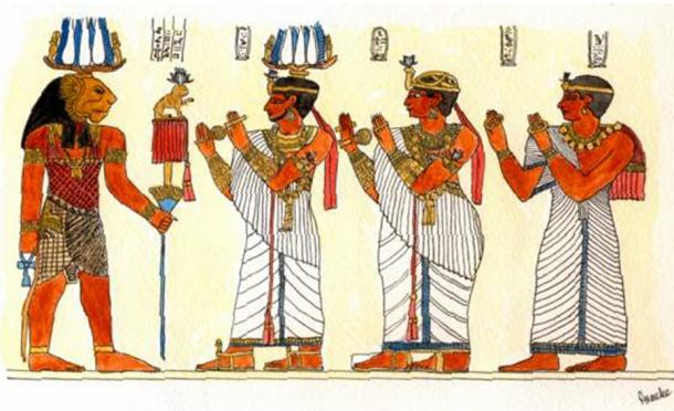 King Natakamani and Queen Amanitore honoring the god Apedemak.