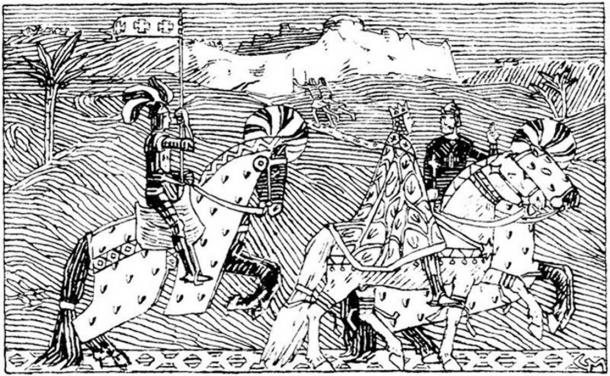 King Sigurd the Crusader and King Baldwin ride to the River Jordan (Gerhard Munthe: Illustration for Magnussønnens saga)