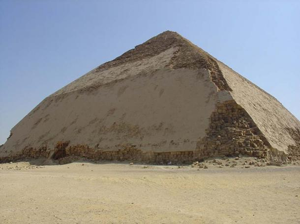 King Snefru's Bent Pyramid, near King Emenikamaw's, had a mistake in its design: At 54 degrees the angle was too sharp, so its architect reduced the angle to 43 degrees about halfway up.