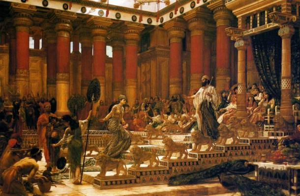 The rich and powerful King Solomon with the Queen of Sheba, oil on canvas painting by Edward Poynter, 1890