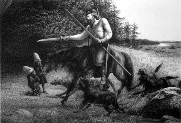 King Svafrlame Secures the Sword Tyrfing. (Public Domain)