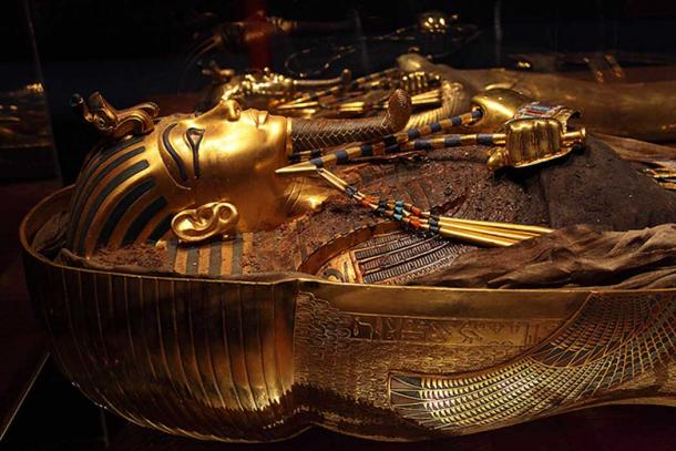 The third, innermost coffin held King Tut's mummy, covered with an ornate mask and other trappings of his status.
