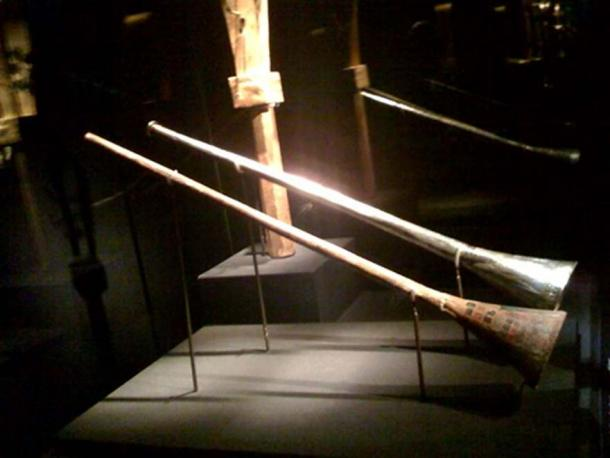 One of King Tut's trumpets on exhibit, 2008.