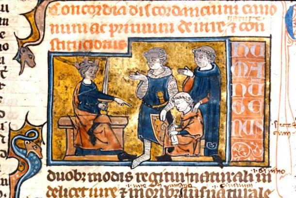 King dictating the law. (British Library / Public Domain)