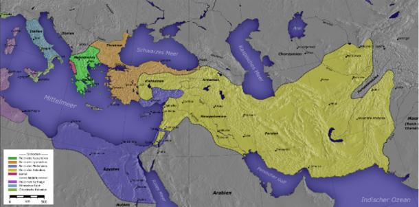 Kingdom of Ptolemy I Soter marked in Purple.