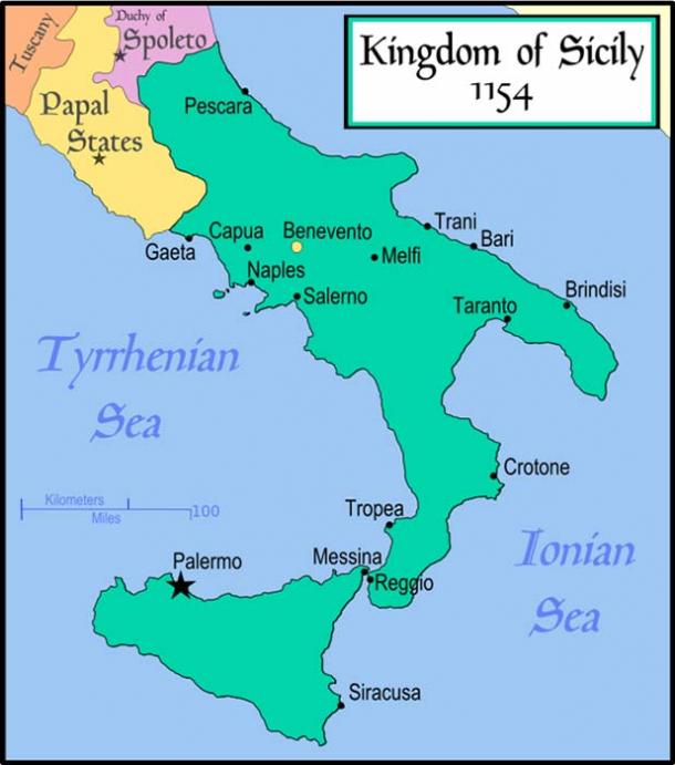 Map of the Kingdom of Sicily,