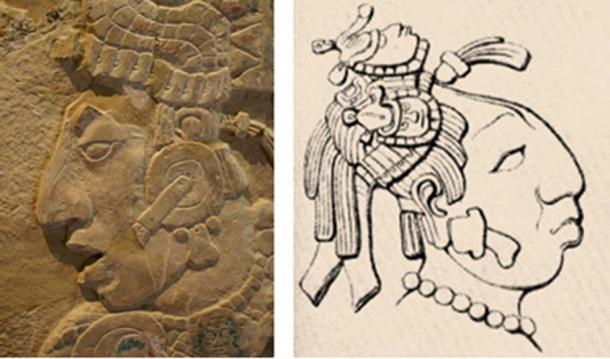 [Left] K'inich Kan B'alam II, at Palenque (Public Domain) [Right] Sak K'uk, grandmother of Kan Bahlam II, Called Lady Cormorant, Drawing by author's artist