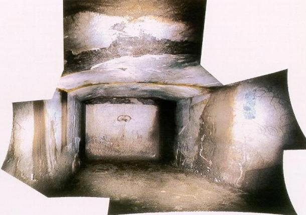 Composite of images of the inside of the Kitora Tomb, Asuka, Japan