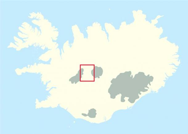 Location of the Kjolur highland area.