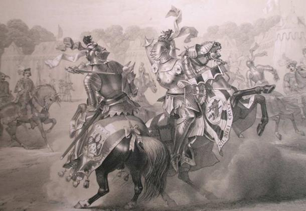 The joust between the Knight of the Red Rose and the Lord of the Tournament, as engraved by Thomas Hodgson