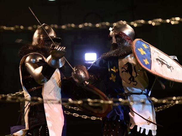 Knights battling during a Medieval combat championship. (Gili Yaari/ Fair Use)